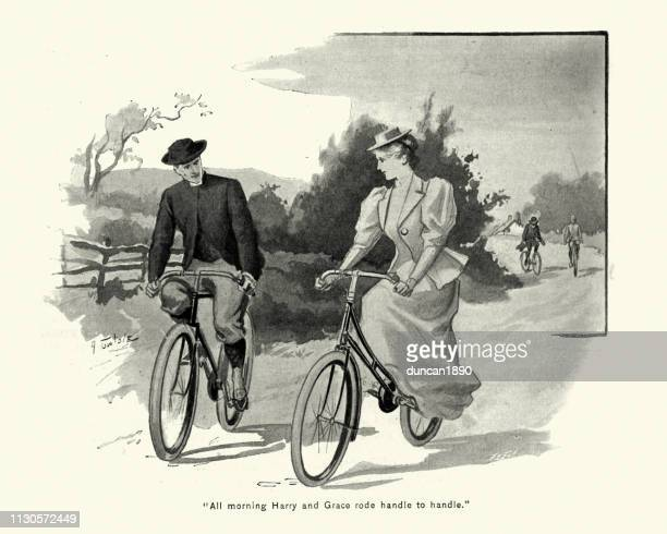 Victorian couple cycling together, country lane, 1890s, 19th Century