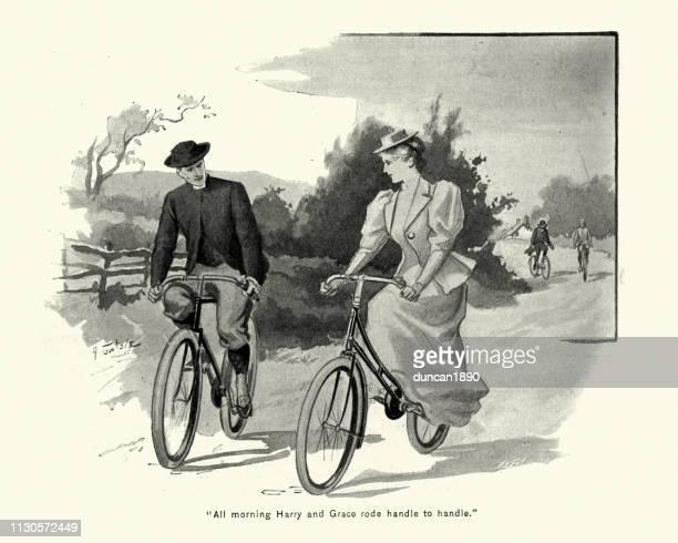ビクトリア カップル サイクリング一緒に国の車線、1890 年代、19 世紀
