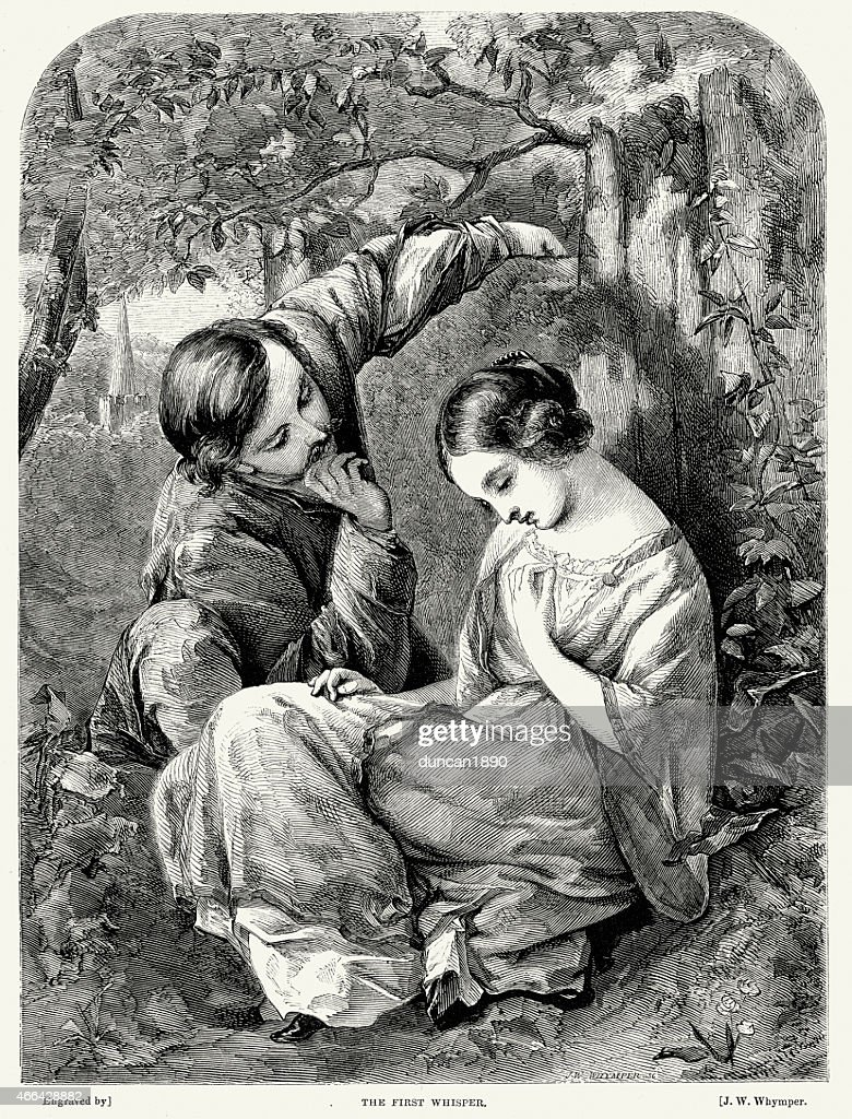 Victorian Couple Flirting - The First Whisper : stock illustration