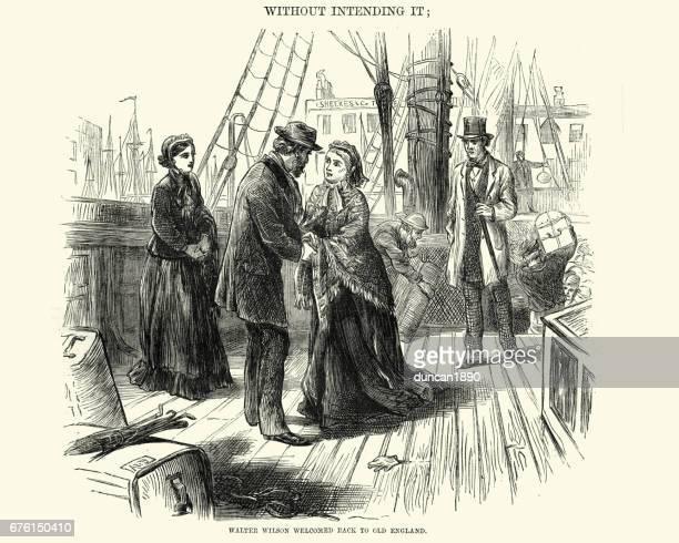 Victoriana pareja saludándose en la cubierta de un barco