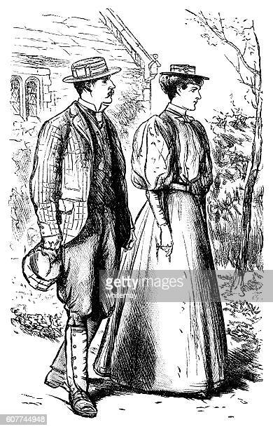 victorian couple out walking - straw boater hat stock illustrations