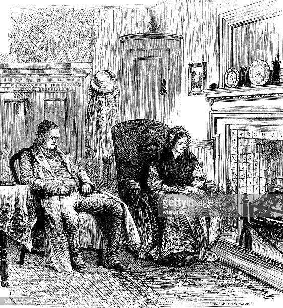 victorian couple relaxing by the fire - bad posture stock illustrations, clip art, cartoons, & icons