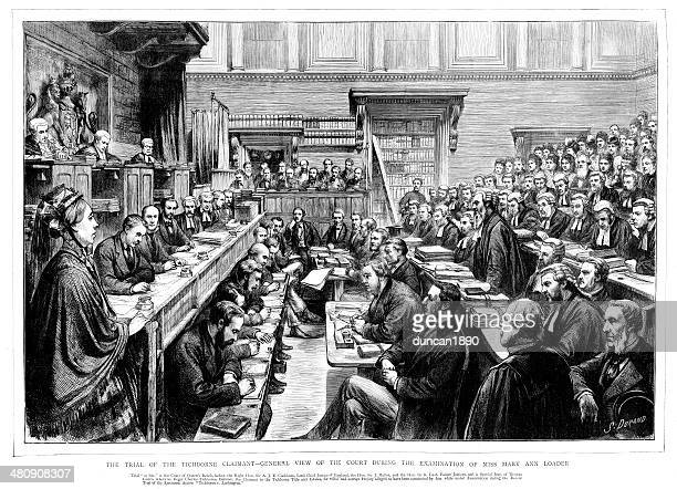 victorian court - the tichborne case - courthouse stock illustrations, clip art, cartoons, & icons