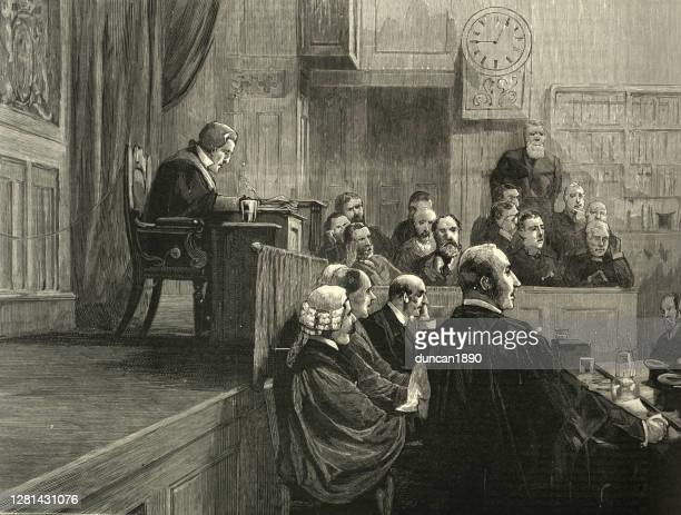 ビクトリア朝の法廷、裁判官、陪審員、弁護士19世紀 - セントラル・ロンドン点のイラスト素材/クリップアート素材/マンガ素材/アイコン素材