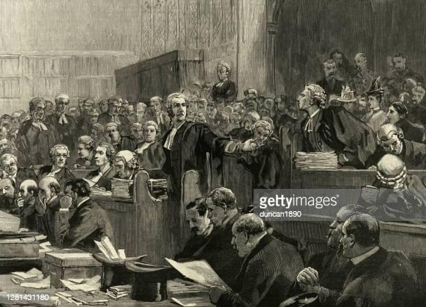 ビクトリア朝の法廷、弁護士、弁護人、検察デスク、聴衆、19世紀 - セントラル・ロンドン点のイラスト素材/クリップアート素材/マンガ素材/アイコン素材