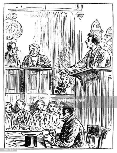 Victorian courtroom scene