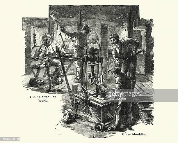 Victorian craftsmen moulding glass