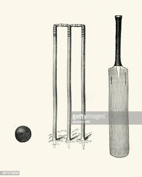 victorian cricket bat ball and wicket 19th century - cricket ball stock illustrations