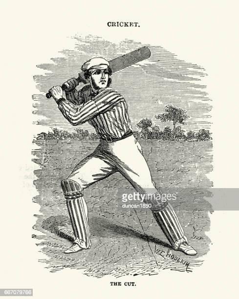 Victorian cricket batsman playing a cut shot 19th Century