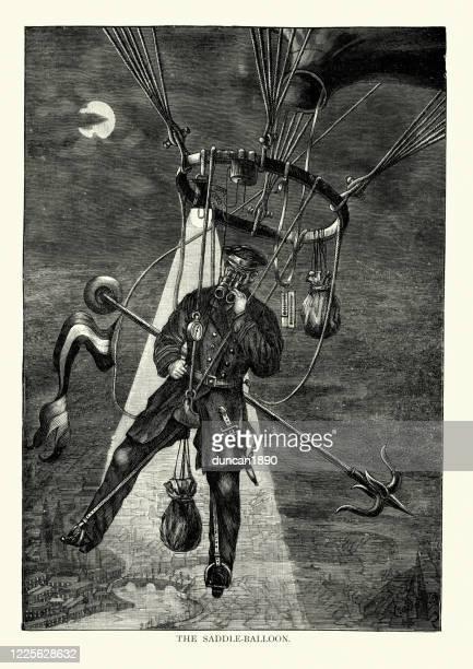 victorian daredevil flying on a saddle balloon, 19th century - literature stock illustrations