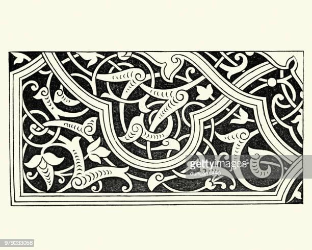 ビクトリア朝の装飾、アラベスク デザイン パターン、1850 年代 - アラベスクポジション点のイラスト素材/クリップアート素材/マンガ素材/アイコン素材