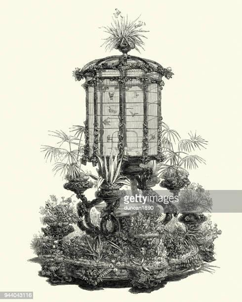 victorian decor, birdcage and jardiniere, 1850s - birdcage stock illustrations, clip art, cartoons, & icons