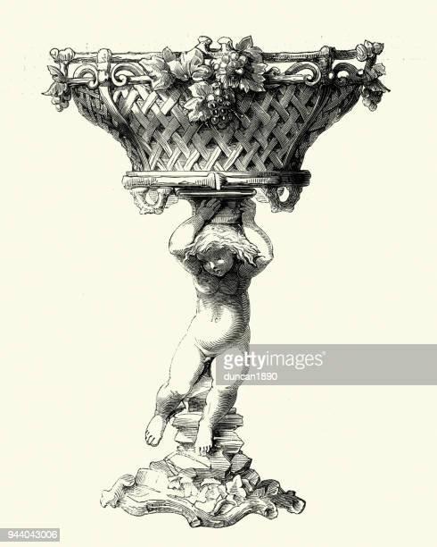 Victorian decor, Carved Wooden Basket, 1850s