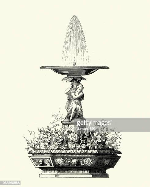 victorian decor, fountain, 1850s - fountain stock illustrations, clip art, cartoons, & icons