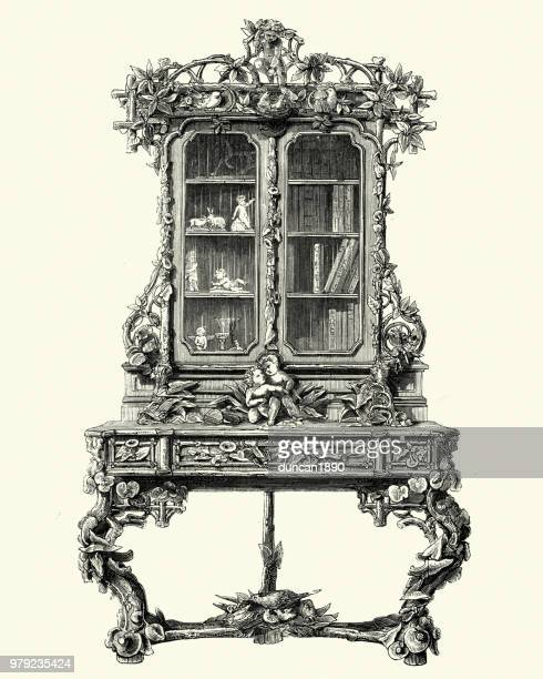 victorian decor, furniture, cabinet bookcase, 1850s - display cabinet stock illustrations, clip art, cartoons, & icons