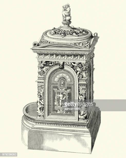 victorian decor, hall stove, 1850s - electric heater stock illustrations, clip art, cartoons, & icons