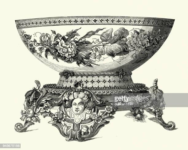 Victorian decor, Pocelain bowl, 1850s