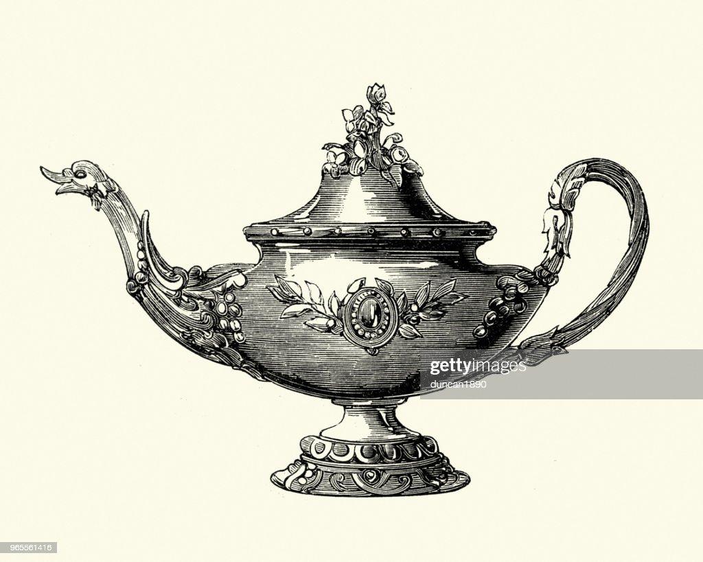Victorian decor, Tea pot, 1850s : stock illustration