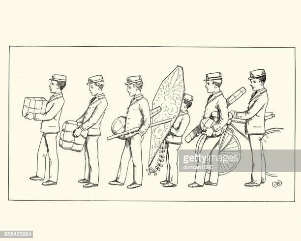 illustrations, cliparts, dessins animés et icônes de livreurs victorienne transportant des colis et cadeaux - facteur