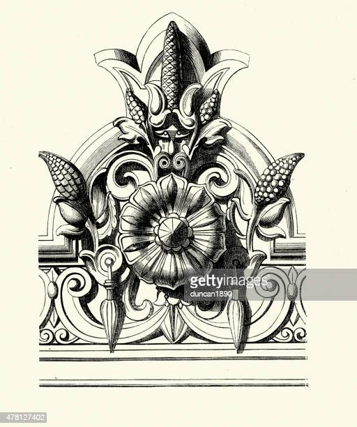 victorian design element rose - architectural feature stock illustrations, clip art, cartoons, & icons