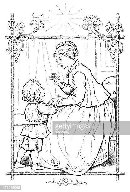 Victorian drawing of a mother talking to her little boy