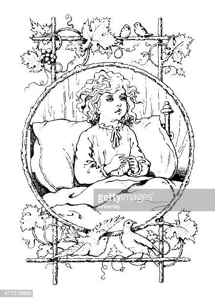 Victorian drawing of a small child sitting up in bed