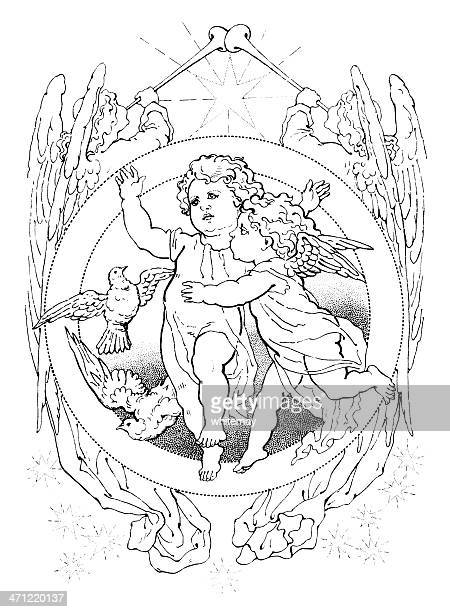 Victorian drawing of two cherubs with birds and angels