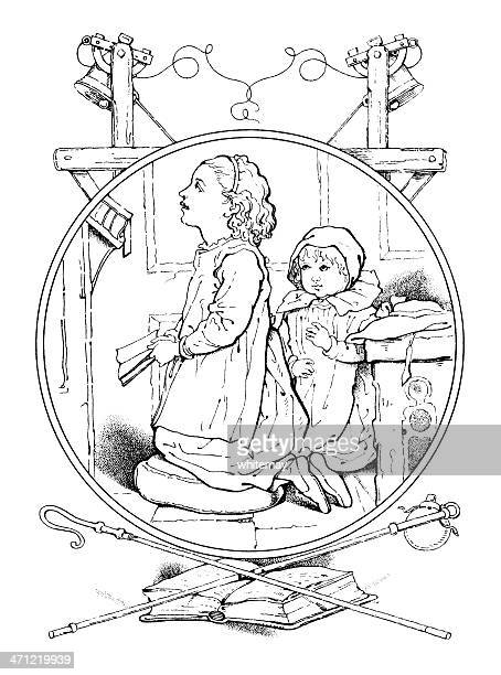 Victorian drawing of two children praying