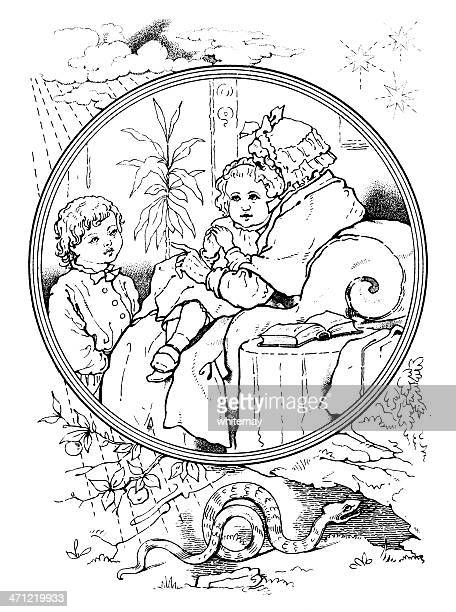 Victorian drawing - old lady telling stories to small children