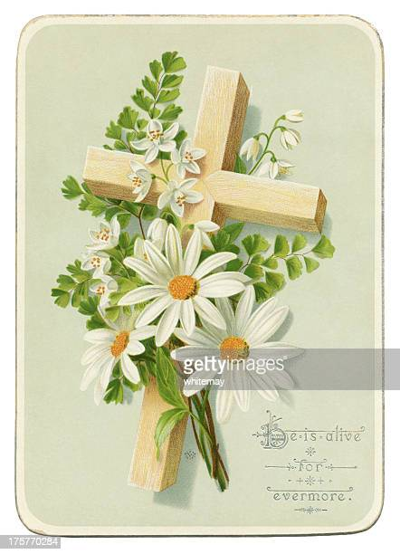 victorian easter card, 1885 - easter religious stock illustrations