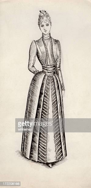 victorian / edwardian costume design - en búsqueda stock illustrations
