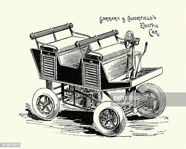 victorian electric car, 1896 - history stock illustrations