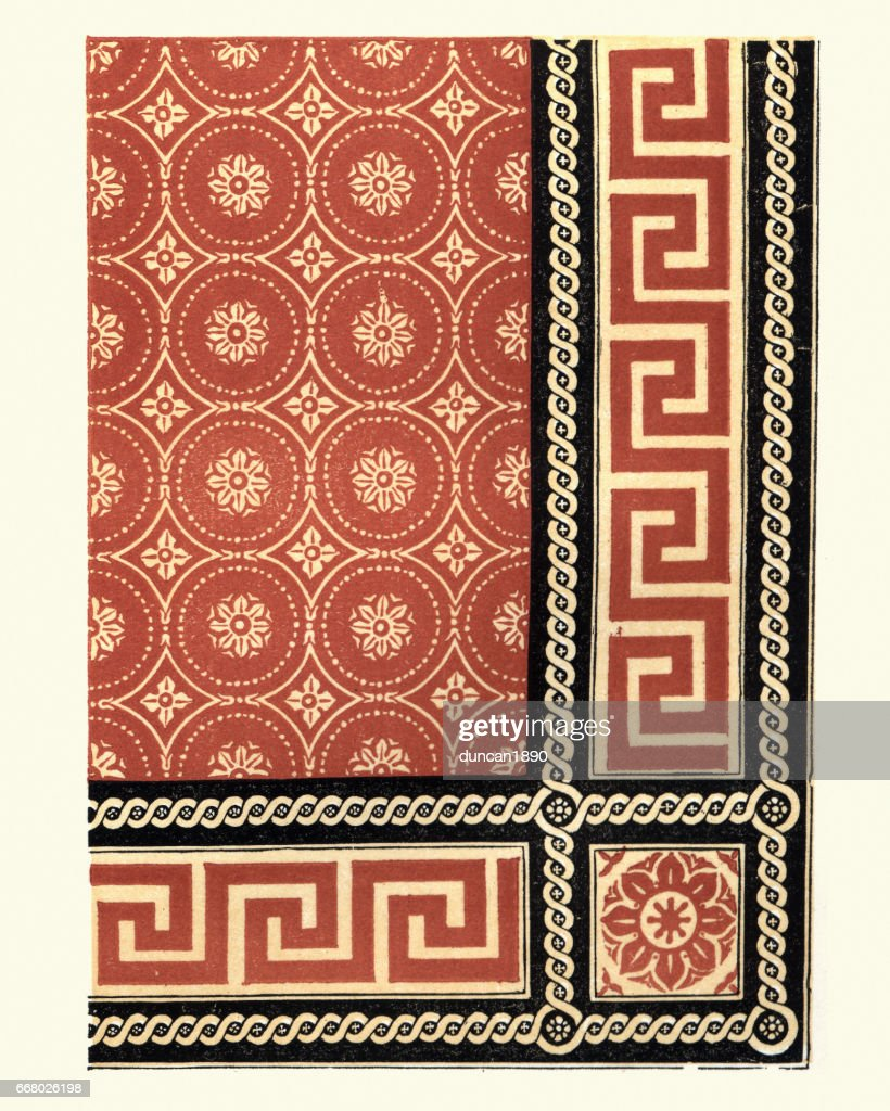 Victorian Encaustic And Geometric Floor Tile Pattern 1855 Stock