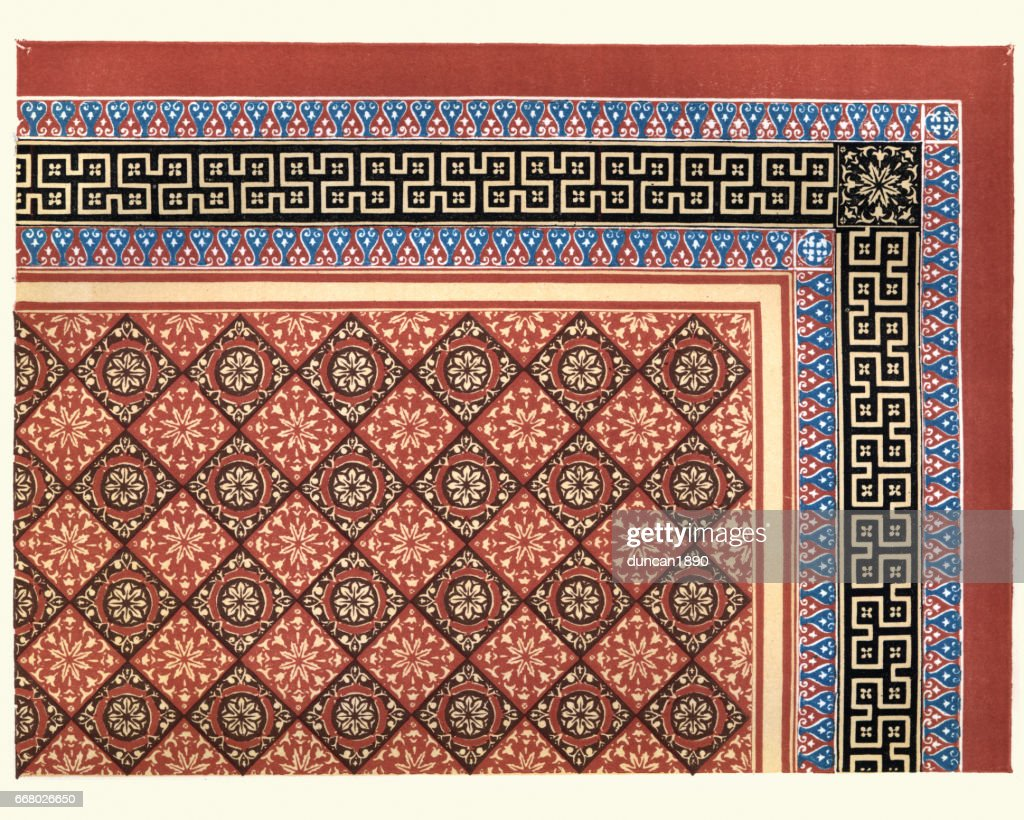 Victorian Encaustic And Geometric Floor Tile Pattern 1855 Stock Ilration