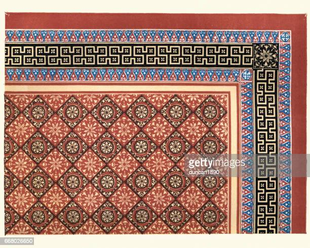 victorian encaustic and geometric floor tile pattern, 1855 - {{relatedsearchurl('racing')}} stock illustrations, clip art, cartoons, & icons