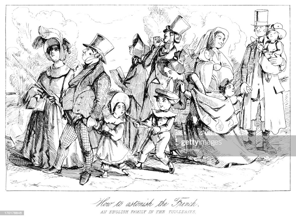 Victorian English family in The Tuilleries : Stock Illustration