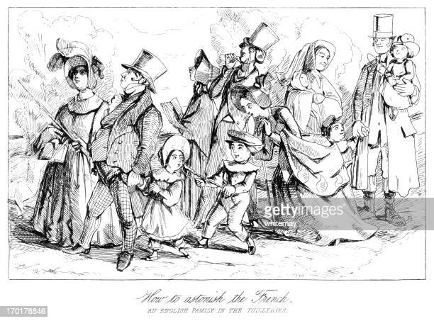 victorian english family in the tuilleries - sunday best stock illustrations, clip art, cartoons, & icons