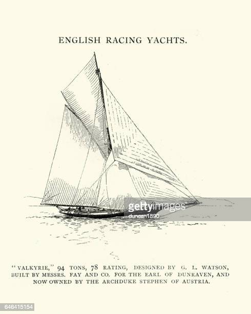victorian english racing yacht, the valkyrie - sail stock illustrations, clip art, cartoons, & icons
