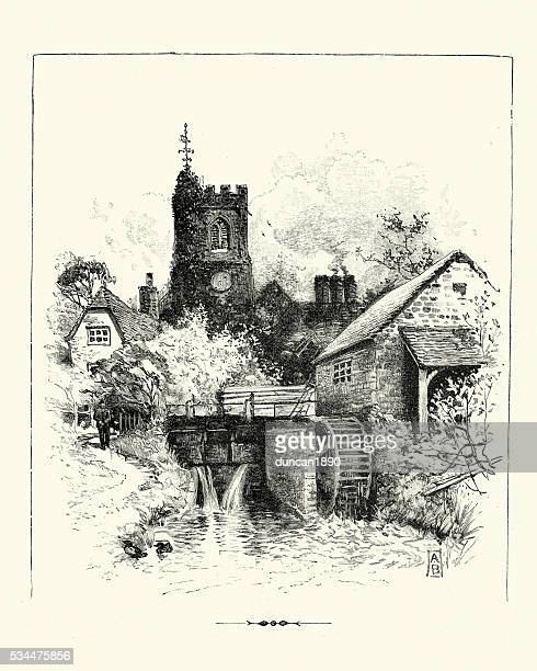 Victorian English Village - Church tower and Watermill