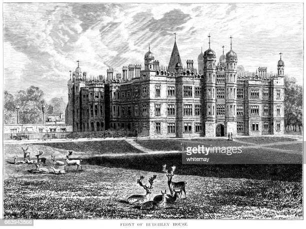 Victorian engraving of Burghley House, Lincolnshire