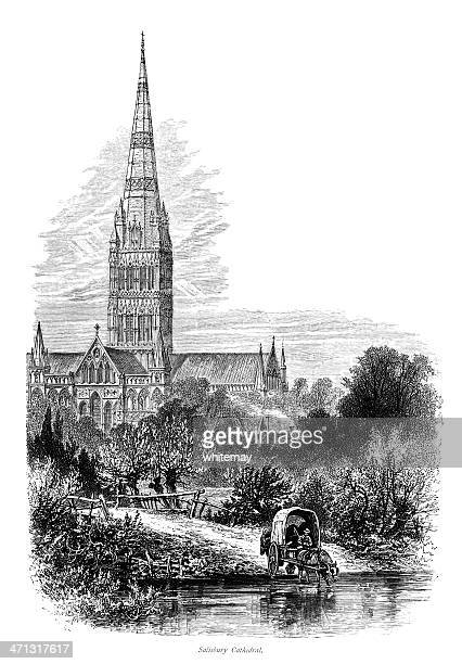 Victorian engraving of Salisbury Cathedral