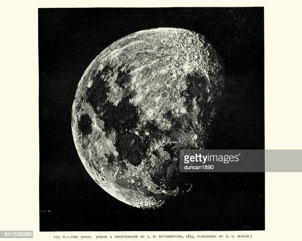 victorian engraving of the moon - volcanic crater stock illustrations, clip art, cartoons, & icons