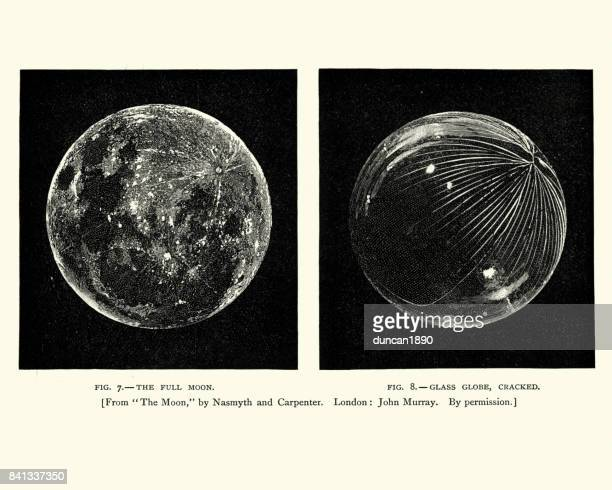 victorian engraving of the moon, with crater - moon stock illustrations