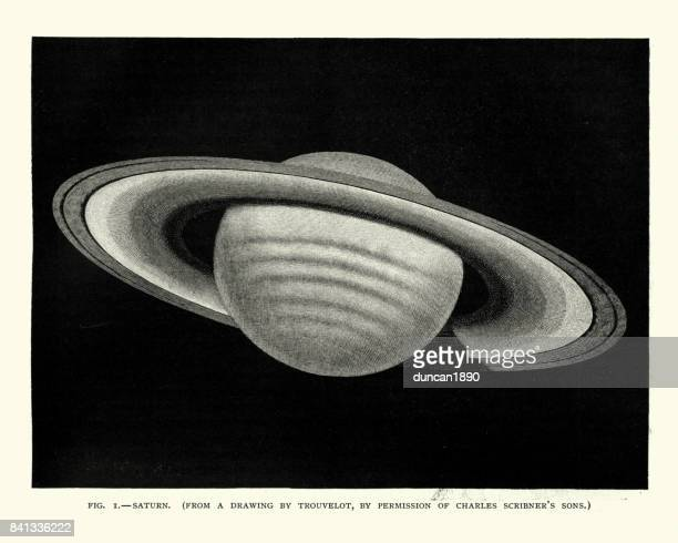 Victorian engraving of the Planet Saturn