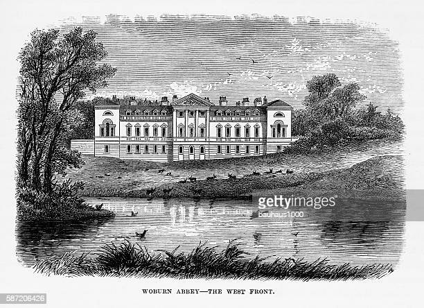 victorian engraving of woburn abbey in woburn, england, circa 1840 - classical style stock illustrations, clip art, cartoons, & icons