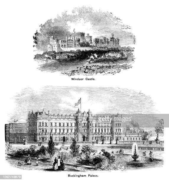 victorian engravings of windsor castle and buckingham palace - two royal residences - windsor england stock illustrations