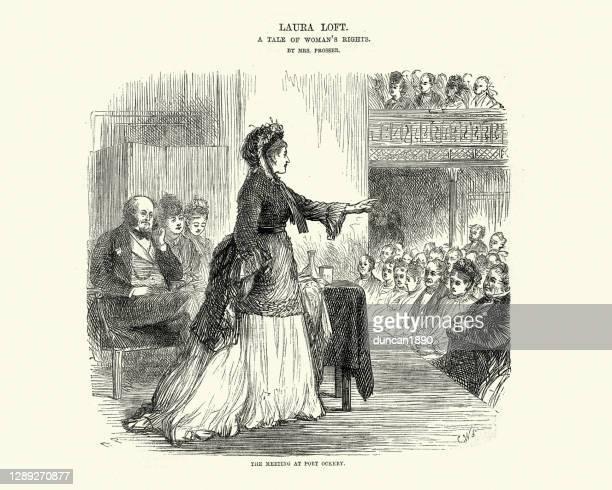 victorian era women's rights movement meeting, 1870s - suffragist stock illustrations