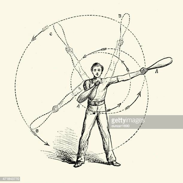 victorian exercise - indian clubs - sports hall stock illustrations