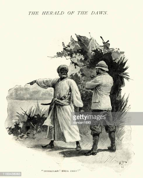 Victorian explorer in seeking guidence from a local, 19th Century