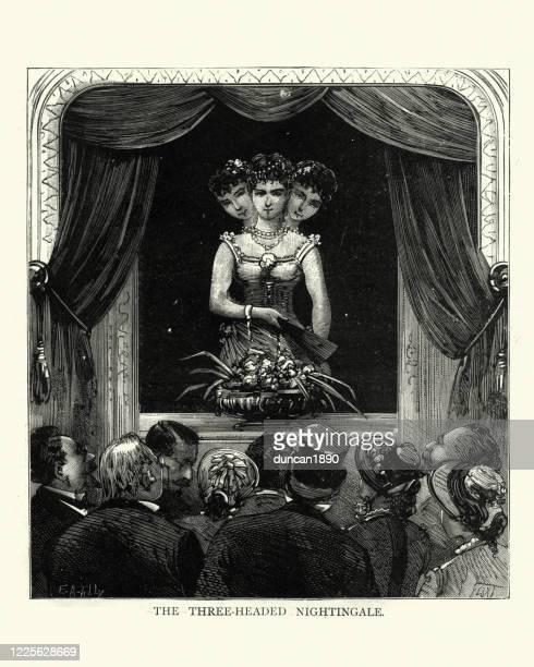 illustrations, cliparts, dessins animés et icônes de performance de forain victorienne par le rossignol à trois têtes - theatrical performance